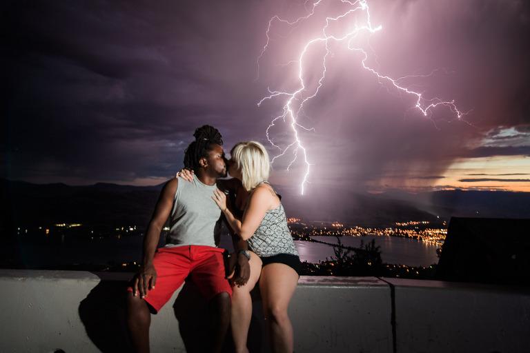 lightning engagement photos